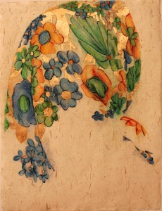 Hoofddoeken-1-Gold-and-Blue--2013--diverse-materialen-op-papier--63-X-83-cm-incl-lijst
