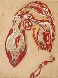Ingrid-Berger-Hoofddoeken-2--Hot-Silver-with-a-touch-of-Gold--2013--diverse-materialen-op-papier--63-X-83-cm-incl-lijst